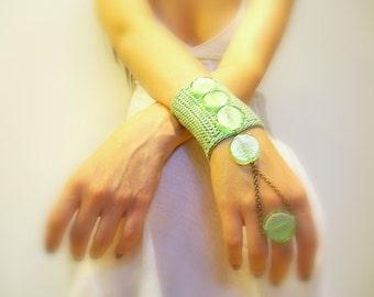 Crochet Cuff Goddess Ring, Handmade, Mint Green, Cotton Crochet Yarn, Brass Chain, Glass, OOAK