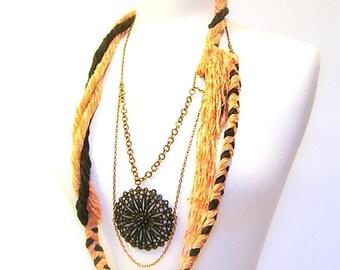 Body Jewelry, Statement Necklace, Fiber, Braided, Twisted Cotton Chenille Yarn, Copper Chain, Black Pendant, OOAK