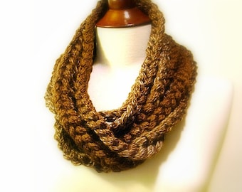 Crochet Infinity Scarf, Brown Chunky Chain, Extra long Retro Fashion Accessory