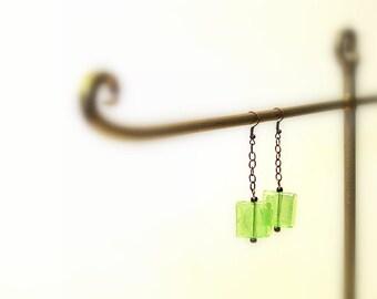 50% OFF Glass and Chain Dangle Earrings, Brass Chain, Hooks, Square Bohemian Earrings