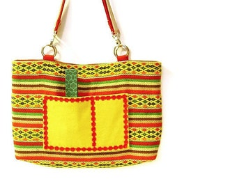 Bag, Woven fabric, Double Strap, Multicolor Bright Yellow, Red, Green, Navy blue, Brown, Beige