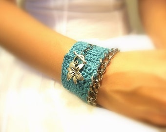 Crochet Cuff  Bracelet, Handmade,Turquoise Cotton Yarn, Silver Metal Floral Toggle Clasp, Silver Metal Chain