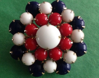 Patriotic red white and blue glass cabochon brooch
