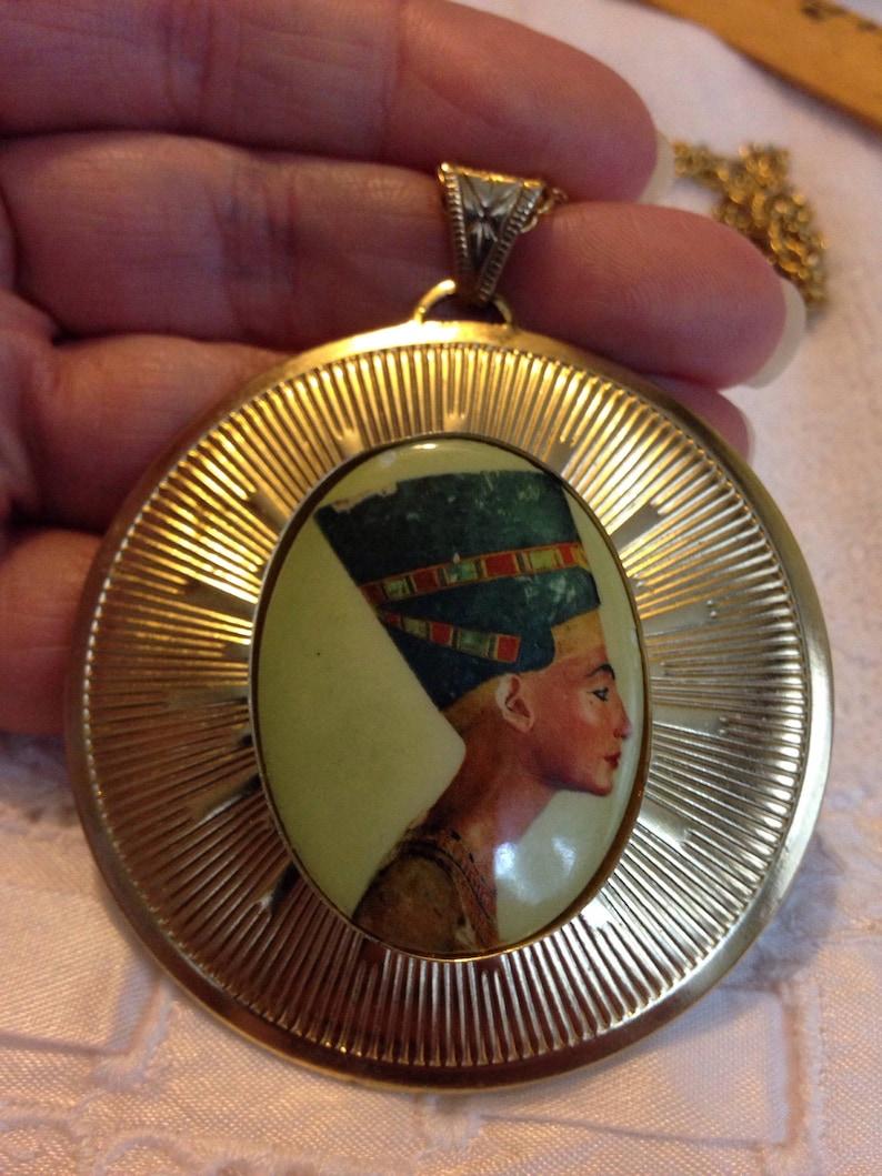 Nefertiti Cameo Signed Vintage Necklace Egyptian Revival