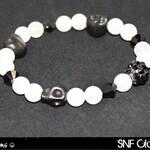 Sugar Skull - White Jade, Howlite, and Black Swarovski Crystal Bracelet