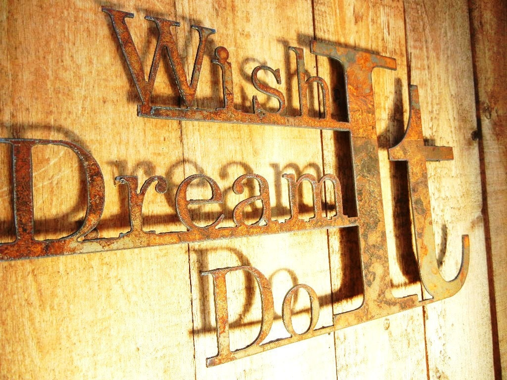 Wish it Dream it Do it Metal Word Art for Indoors or Outoors   Etsy