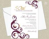 Wedding Anniversary Invitation - Adult Birthday Invitation - 50th Birthday Invitation