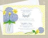 Blue Hydrangea & Daffodil Wedding Shower Invitation - Bridal Shower Invitation - Baby Shower Invitation - Adult Birthday Invitation