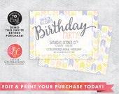Teen Birthday Invitation - Purple Gold Coral Invitation - Tween Party Invitations - Boho Invitation - Corjl Template - Editable Invitation