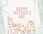 Happy Mother's Day Card - Watercolour Mother's Day Card - Gardening Mother's Day Card - Card for Mom - Watercolor Flowers