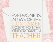 Thank you card for Kindergarten teacher