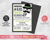 40th Birthday Invitation Digital Download, Moustache Bash Invitation, 50th Birthday Party Invitation, Dress-up Birthday Invitation, Corjl