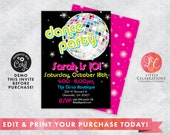 DIGITAL DOWNLOAD Birthday, Dance Party Invitation, Disco Birthday, 80's Birthday Party Invitation, Retro Dance Party Invitation, Editable