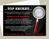Spy Birthday Party Invitation - Mystery Birthday Party Invitation