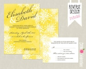 CUSTOMIZED PRINTABLE Yellow Watercolor Flower Custom Wedding Invitation and Reply Card Set