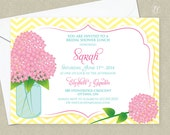 Pink Hydrangea Wedding Invitation - Hydrangea Shower Invitation - Mason Jar Invitation - Bridal Shower Invitation - Baby Shower Invitation