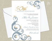 Wedding Anniversary Invitation - Wedding Invitation - 50th Wedding - Formal Invitation - Blue and Gold Wedding Invitation