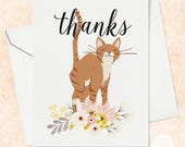 Orange Cat Thank You Card - Cat Thank You Card - Floral Thank You Card - Cute Cat Card - Thank You for Cat Lover - Cat Lady Card - Thank you