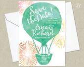 Watercolor Hot Air Ballon Save the Date Announcement - Save the Date - Wedding Invitation - Watercolor Save the Date