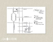 CUSTOMIZED PRINTABLE Customized Wedding / Event Map in Black and White - Customized Wedding Maps by Little Celebrations