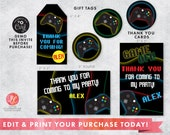 DIGITAL DOWNLOAD Video Gaming Party Package, Video Game Gift Card, Video Game Thank You Card, Video Game Party invitation, Gaming Birthday