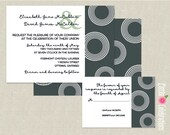 CUSTOMIZED PRINTABLE Elegant Grey Modern Circles Custom Wedding Invitation & Reply Card Set