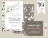 CUSTOMIZED PRINTABLE Dark Grey and Silver Grey Handrawn Flowers Custom Wedding Invitation & Reply Card Set
