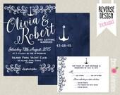 CUSTOMIZED PRINTABLE Navy Blue Nautical, Hand Lettered Custom Wedding Invitation & Reply Card Set