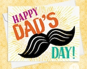 Father's Day Card - Happy Dad's Day - Card for Dad - Moustache Card for Dad - Funny Card for Dad - Funny Moustache Card - Moustache Card