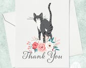 Grey Cat Thank You Card - Cat Thank You Card - Floral Thank You Card - Cute Cat Card - Thank You for Cat Lover - Cat Lady Card - Thank you