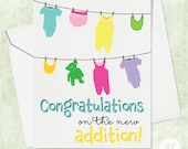 Funny Lots of Laundry Baby Card, Laundry Card, Newborn Card, Congratulations on the new baby, Birth Card, New Baby Card, Funny Newborn Card