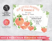 Pumpkin Birthday Party Invitation - First Birthday Invitation - Second Birthday Invitation - Edit Now - Editable Invitation - Corjl Template