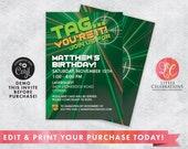 DIGITAL DOWNLOAD Green Laser Tag Birthday Invitation, Laser Tag Party, Pre-Teen Birthday Invitation, Boys Birthday Invitation