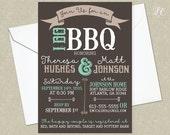Rustic Turquoise & Grey I Do BBQ Wedding Invitation - Wedding Shower Invitation - Country Wedding Invitation - Printable Wedding Invitation