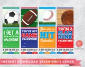 Print-Your-Own, Instant Download Sports Valentine's Day Cards, Basketball, Baseball, Soccer, and Football