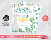 Llama Fun Editable Instant Download Birthday Invitation, Llama Birthday Invitation, Llama Party Invitation, Fiesta Invitation, Cactus Invite