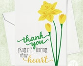 Daffodil Thank You Card - Thank You Card - Flower Thank You Card - Illustrated Card - Daffodil Card- Card for Her - Card for Friend
