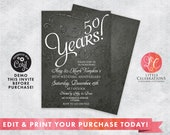 Wedding Anniversary Invitation - Glitter Invitations - Anniversary Invitation - Formal Birthday Invitation - Printable Invitation - Corjl