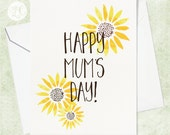 Happy Mum's Day Card - Gardening Mother's Day Card - Sunflower Card - Gardening Card for Mom - Flower Card for Mom - Watercolor Card