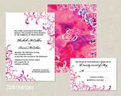 CUSTOMIZED PRINTABLE Wedding Invitation and Reply Card Package, Pink Watercolor Wedding Invitation, Custom Wedding Invitation & Reply Card