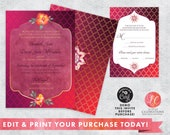 Exotic Wedding Invitation - Bright and Bold Wedding - Destination Wedding - Customizable Wedding Invitation - Corjl Template - Editable