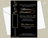 Retro Cocktail Party Invitation - Retro Engagement Party Invitation - Champagne Party Invitation - Adult Birthday Invitation