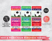 DIGITAL DOWNLOAD Birthday, Soccer Birthday Tickets, Soccerl Ticket Invitations, Ticket Invitation, Sports Party Ticket, Editable Tickets