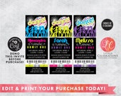 Editable Dance Birthday Party Tickets - 80's Dance Ticket Invitations - Retro Dance Invitation - Ticket Invitation - Print your own Tickets