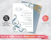 Wedding Invitation - Anniversary Invitation - Formal Invitation - Blue and Gold Invitation - Printable Template - Corjl Template