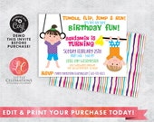 INSTANT DOWNLOAD Gymnastics Digital Download Birthday Party Invitation, Tumbling Birthday Party Invitation, Gym Birthday Party Invitation