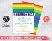 Rainbow Digital Birthday Party Invitation, 1st Birthday Rainbow Birthday Invitation, Garden Party Birthday Invitation, Digital Invitation