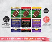 Editable Football Birthday Party Tickets - Football Ticket Invitations - Print your own ticket Invitations - Sports Party Ticket invitations