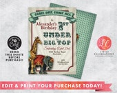 Circus Party Invitation - Editable Circus Party Invitation - Vintage Circus Birthday Invitation - Print your own Circus Invitation - Corjl