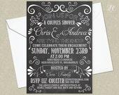 Vintage Chalkboard Wedding Invitation - Chalk Board Engagement Invitation - Hand Lettered Invitation - Chalkboard Invitation